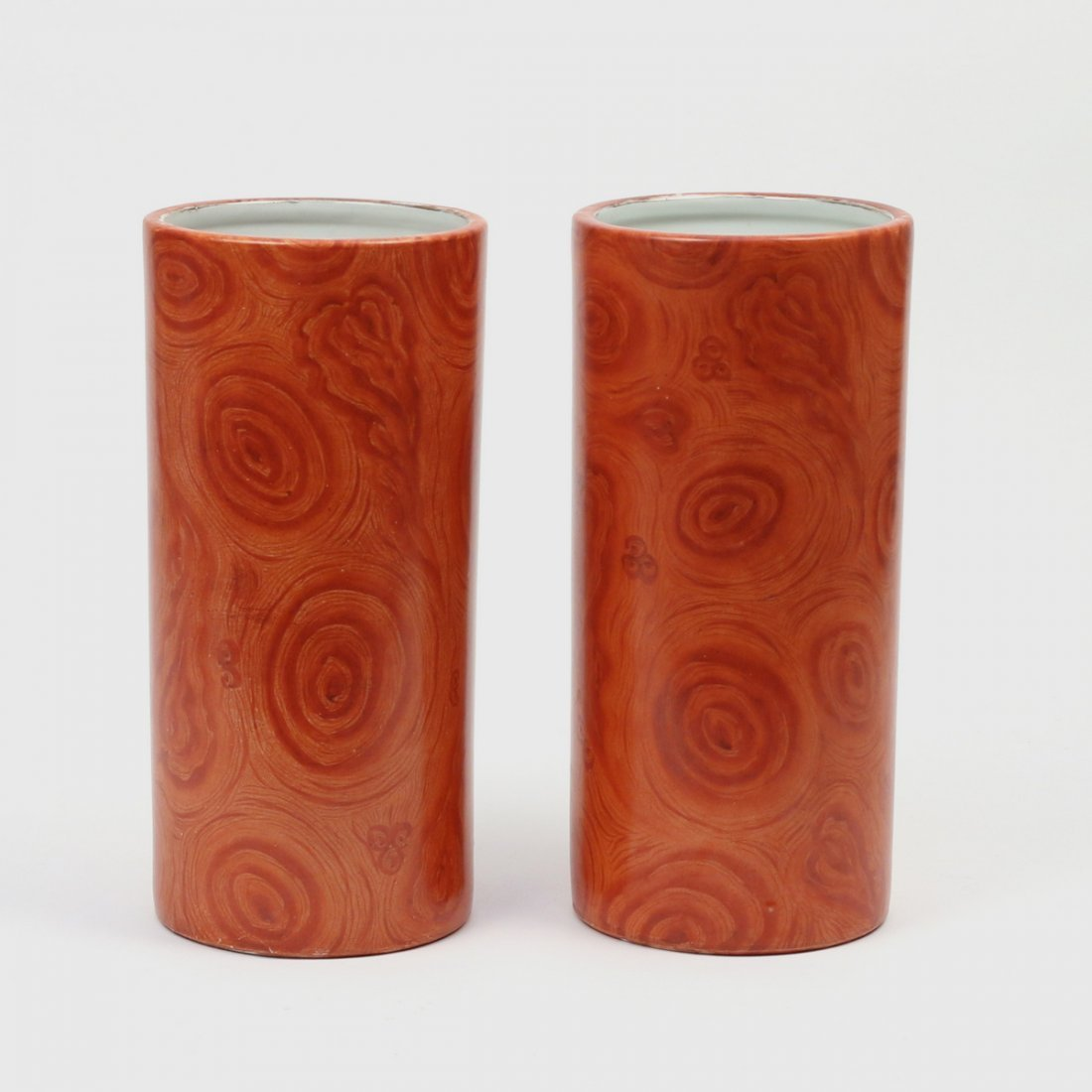 PAIR CHINESE FAUX-BOIS PORCELAIN HAT STANDS