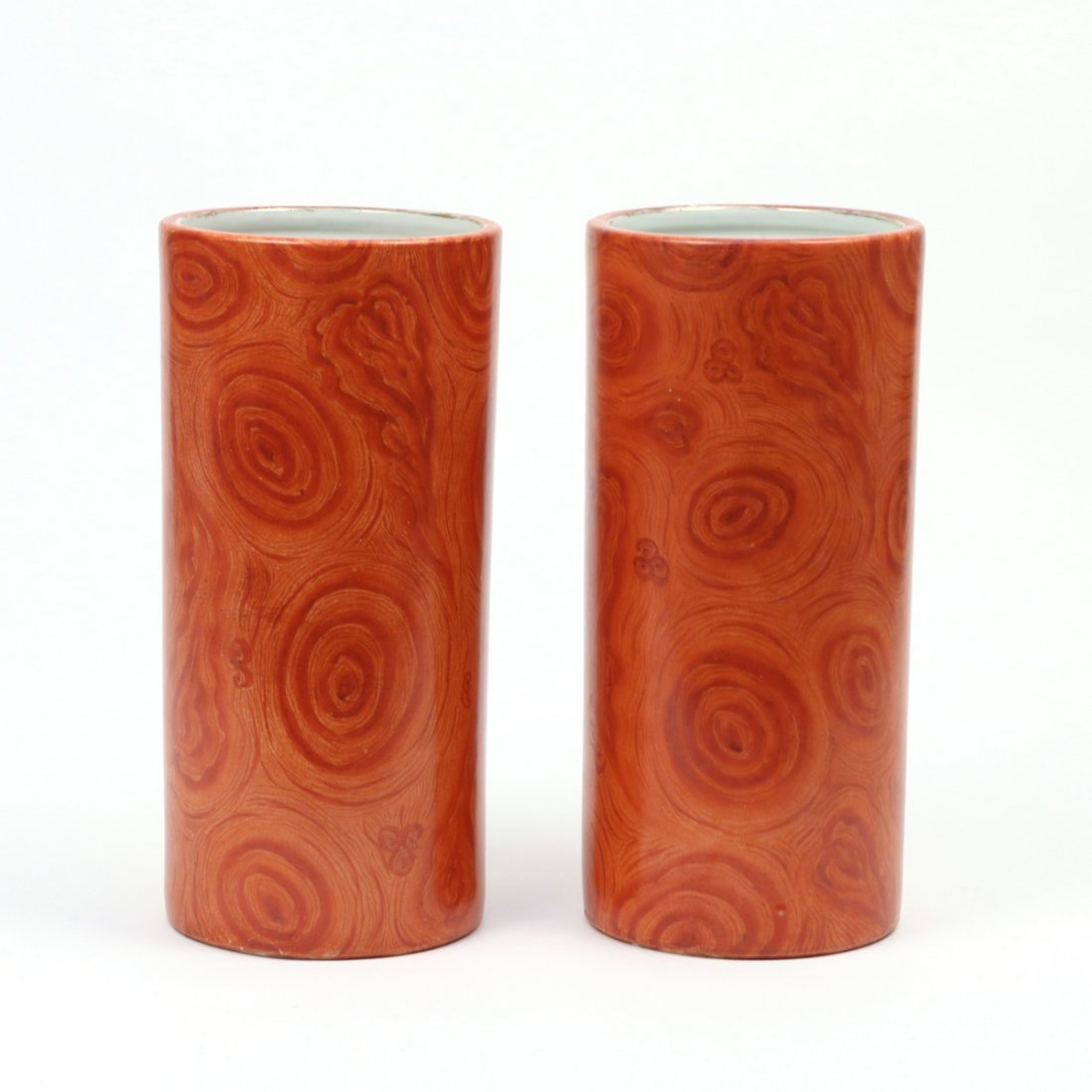 PAIR CHINESE FAUX-BOIS PORCELAIN HAT STANDS - 2