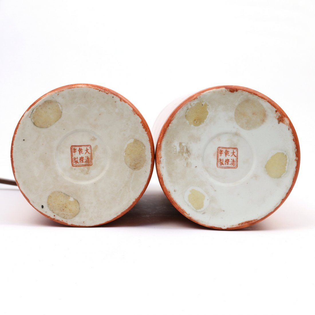 PAIR CHINESE FAUX-BOIS PORCELAIN HAT STANDS - 4