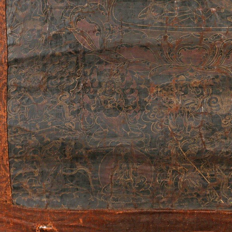 EARLY SINO-TIBETAN BLACK-GROUND THANGKA - 10