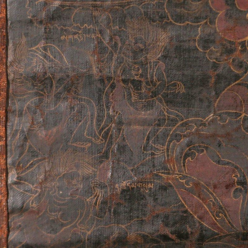 EARLY SINO-TIBETAN BLACK-GROUND THANGKA - 2