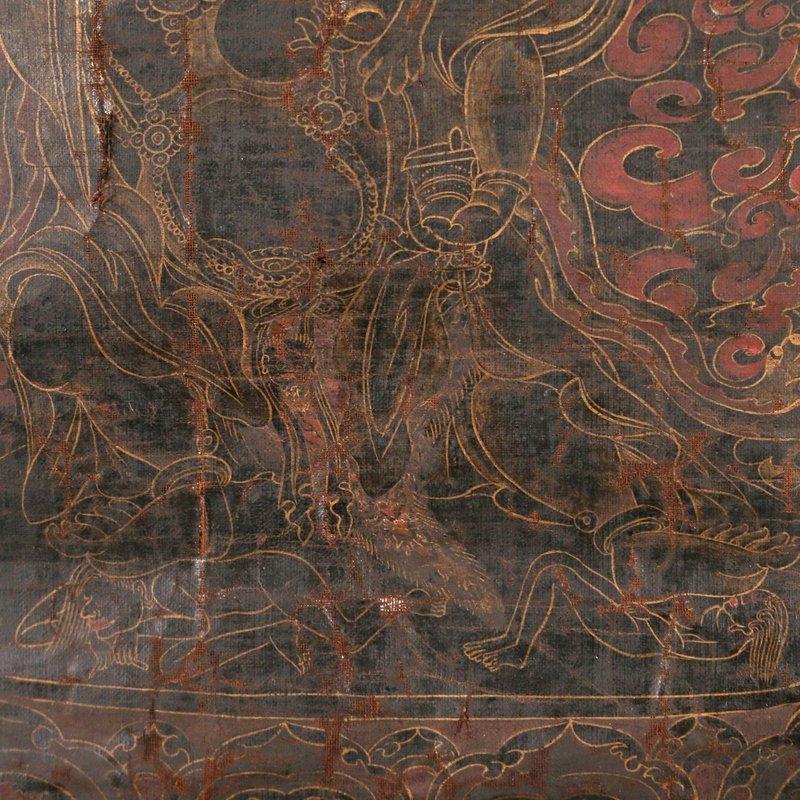 EARLY SINO-TIBETAN BLACK-GROUND THANGKA - 3