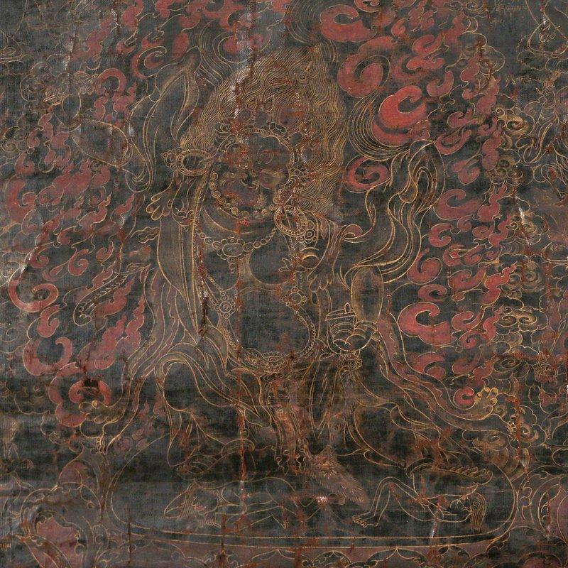 EARLY SINO-TIBETAN BLACK-GROUND THANGKA - 7