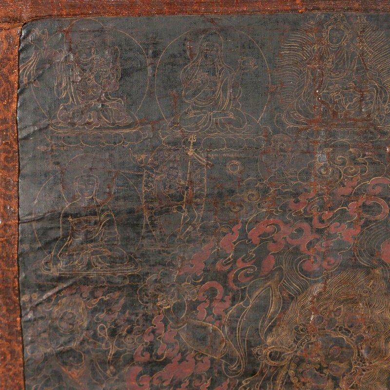 EARLY SINO-TIBETAN BLACK-GROUND THANGKA - 9