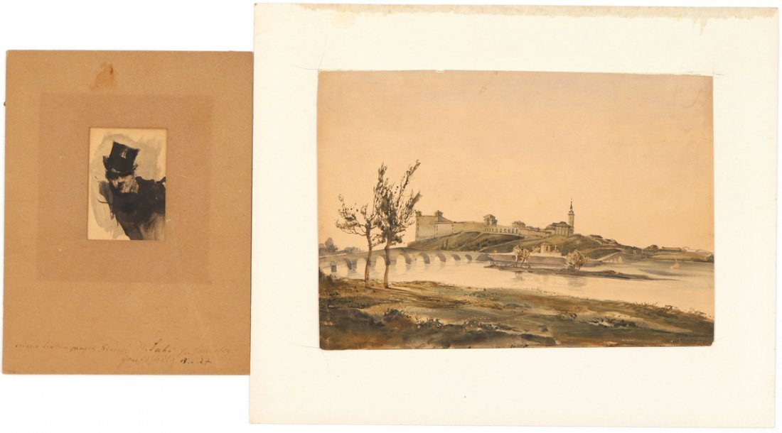 (2pc) CONTINENTAL SCHOOL WORKS ON PAPER