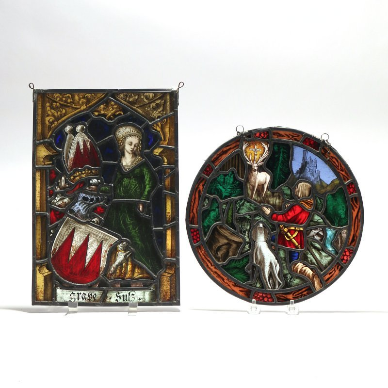 (2pc) ECCLESIASTICAL STAINED GLASS PANELS