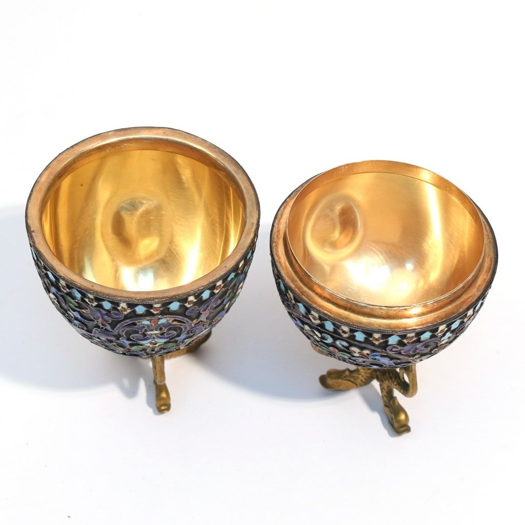(4pc) RUSSIAN ENAMELED '84' SILVER EGGS & CUP - 9