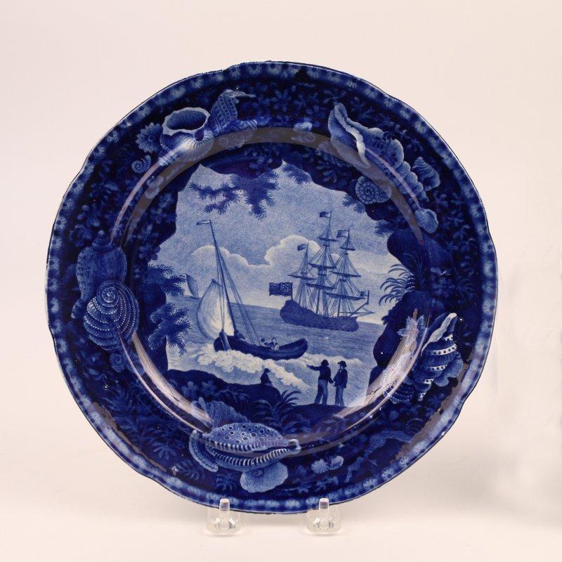 (2pc) DARK BLUE STAFFORDSHIRE HISTORIC PLATES - 3