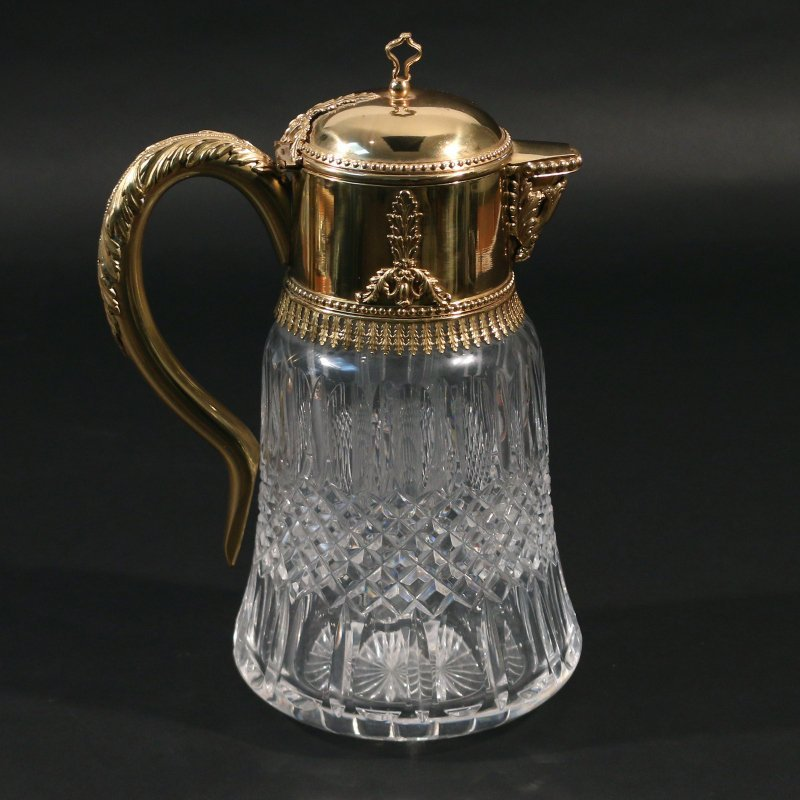 VERMEIL AND CUT CRYSTAL PITCHER