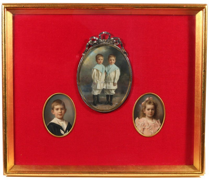 (3pc) MINIATURE PAINTINGS OF CHILDREN
