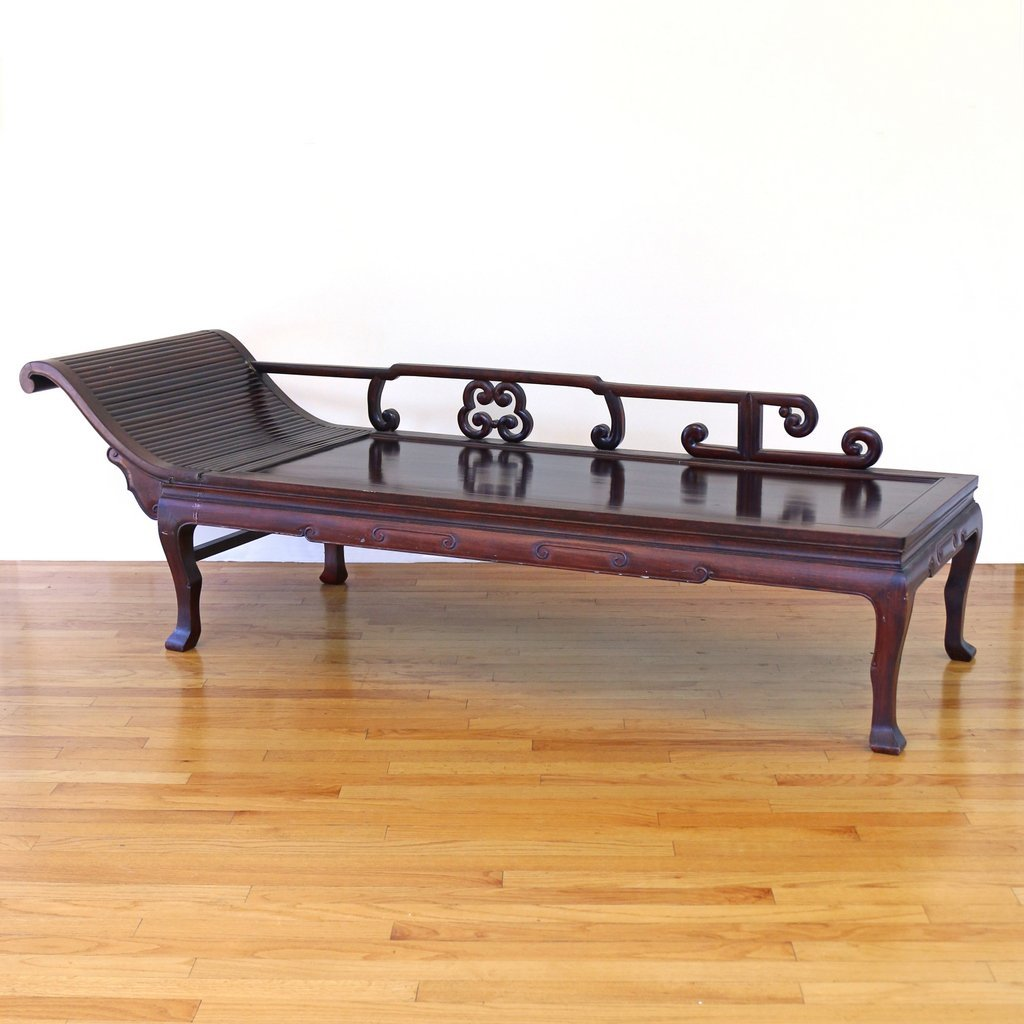 CHINESE CARVED HARDWOOD CHAISE