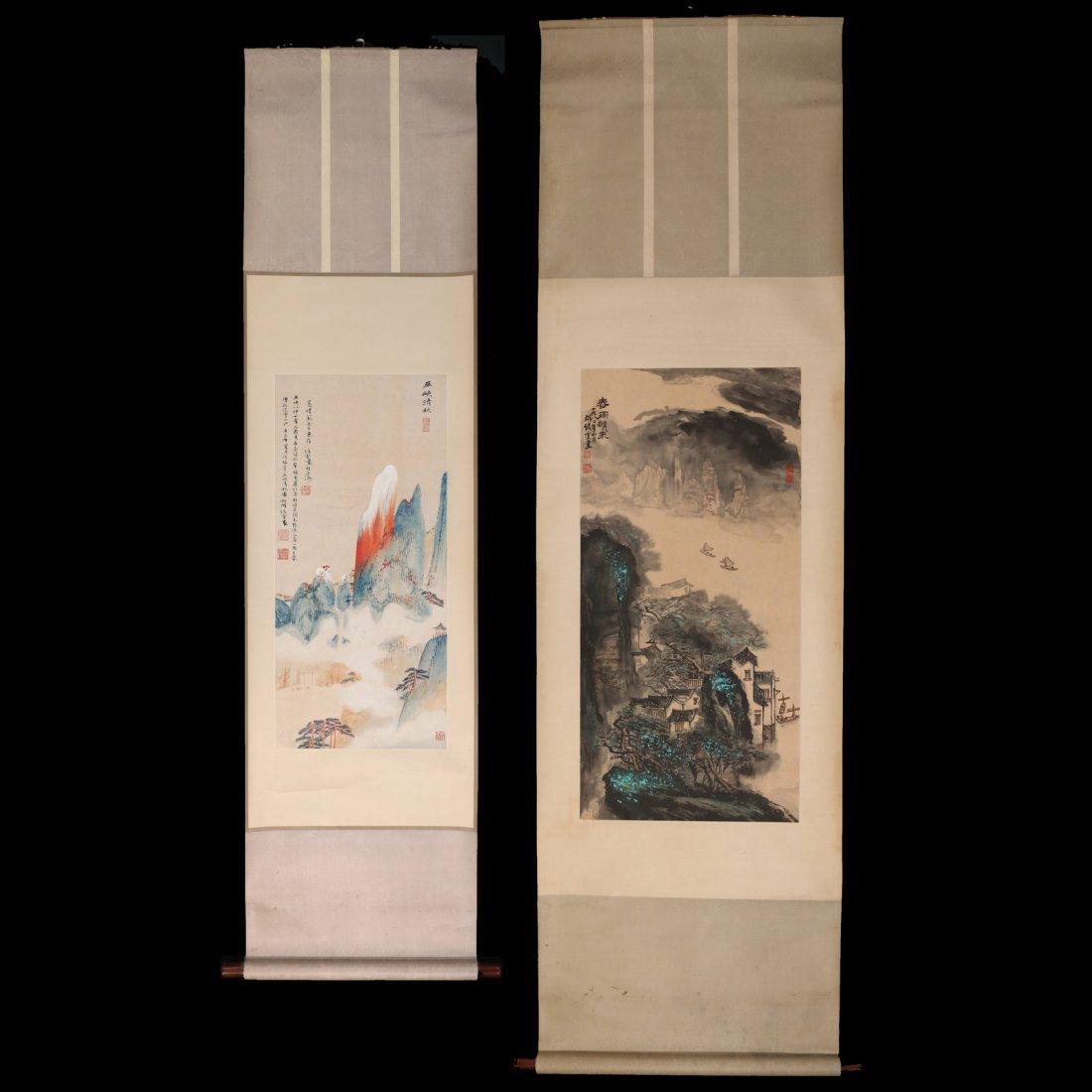(2pc) HU XUWEN (Chinese, 1960-) HANGING SCROLLS