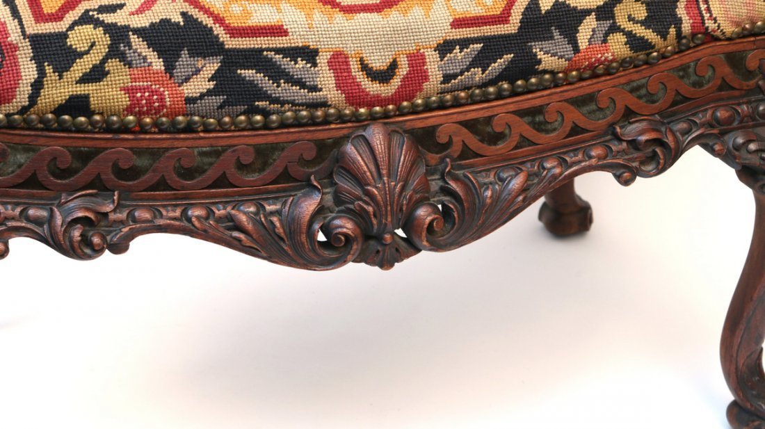 FINE CHIPPENDALE-STYLE CARVED NEEDLEPOINT STOOL - 2