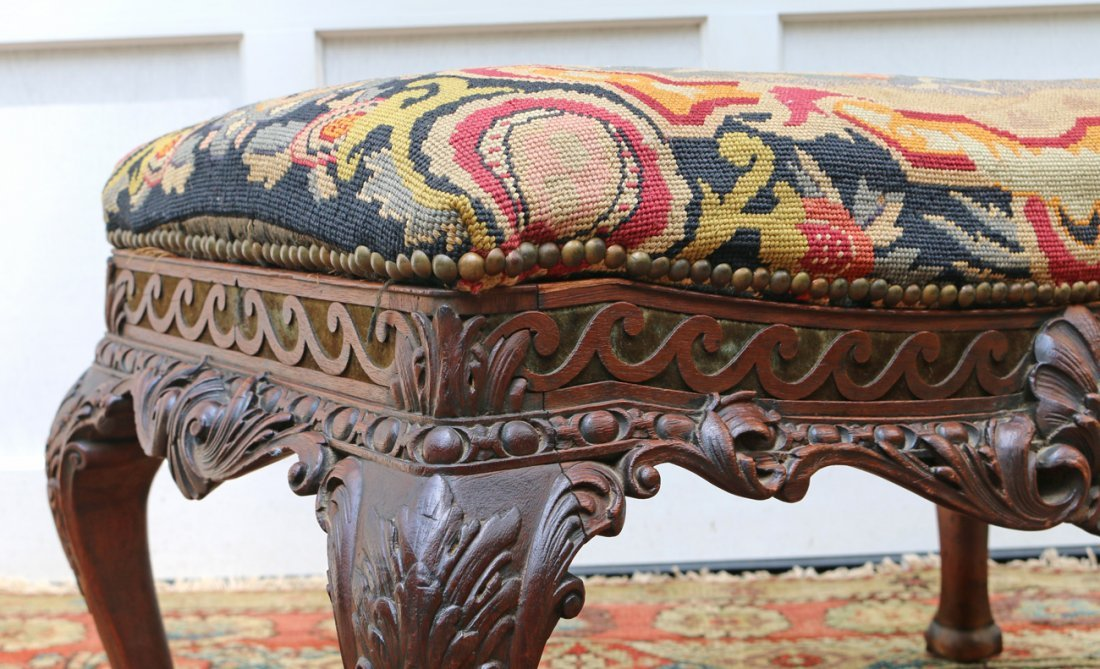 FINE CHIPPENDALE-STYLE CARVED NEEDLEPOINT STOOL - 3