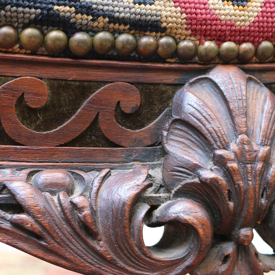 FINE CHIPPENDALE-STYLE CARVED NEEDLEPOINT STOOL - 4