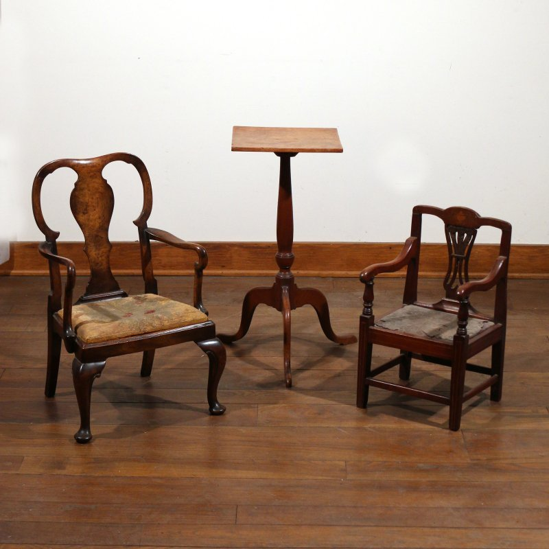 (3pc) TWO CHILD'S CHAIRS & CANDLESTAND