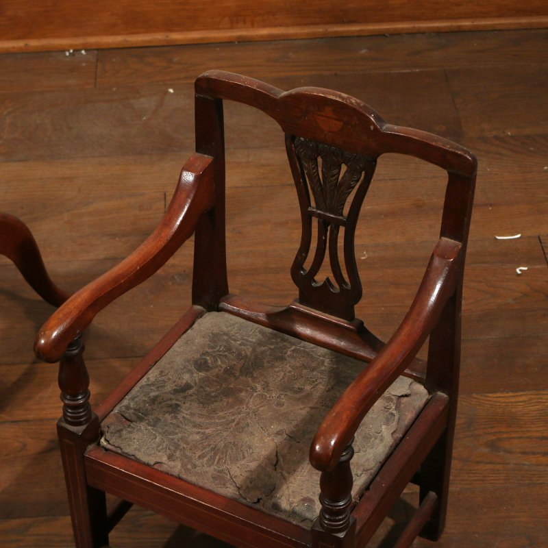 (3pc) TWO CHILD'S CHAIRS & CANDLESTAND - 4