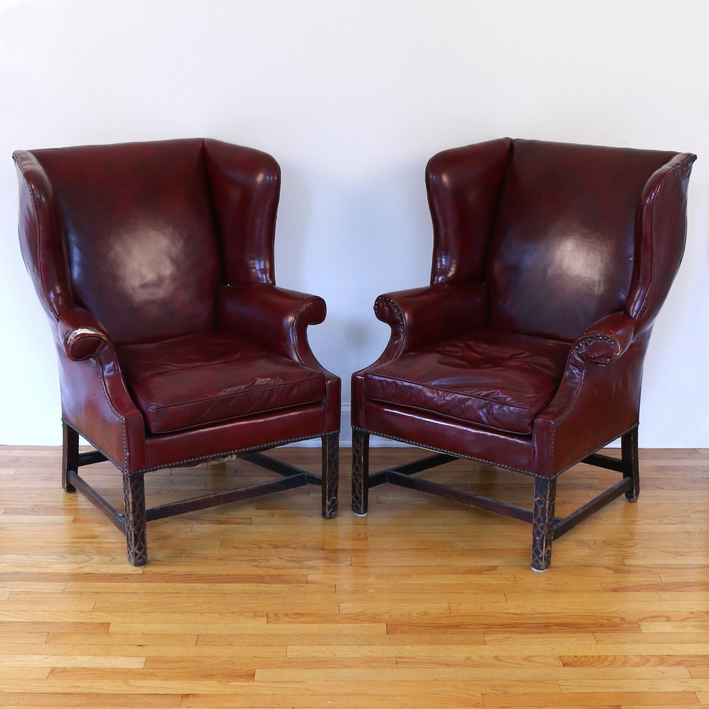 PAIR CHIPPENDALE STYLE WING CHAIRS