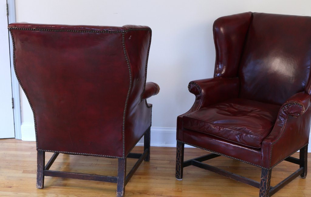 PAIR CHIPPENDALE STYLE WING CHAIRS - 5