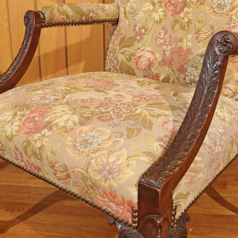 TWO SIMILAR GEORGIAN STYLE LIBRARY CHAIRS - 5