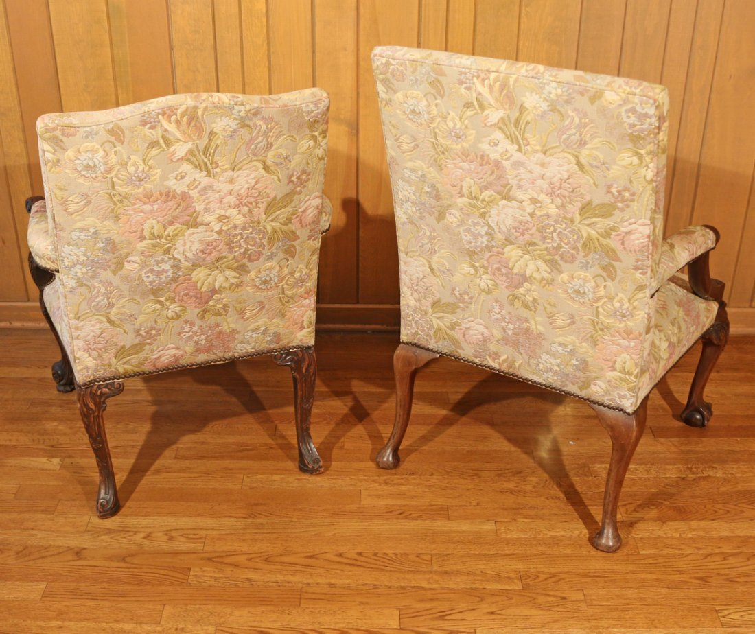 TWO SIMILAR GEORGIAN STYLE LIBRARY CHAIRS - 8