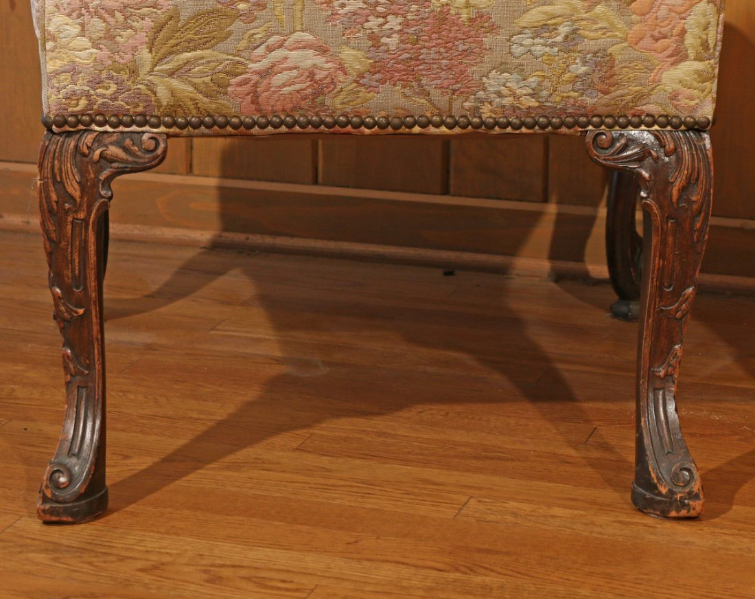 TWO SIMILAR GEORGIAN STYLE LIBRARY CHAIRS - 9