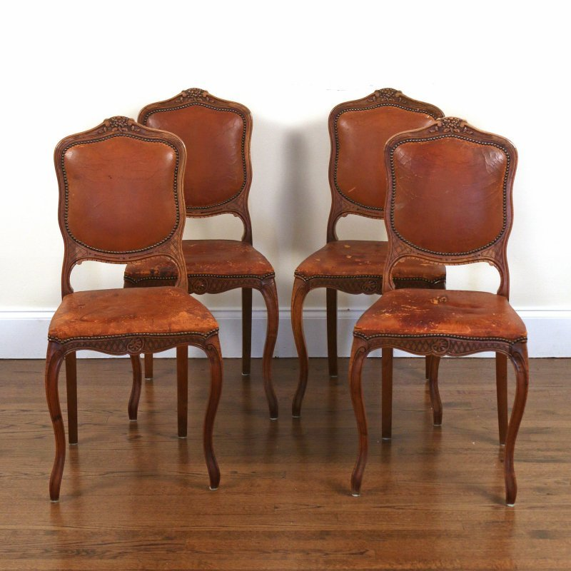 (4pc) FRENCH PROVINCIAL WALNUT SIDE CHAIRS