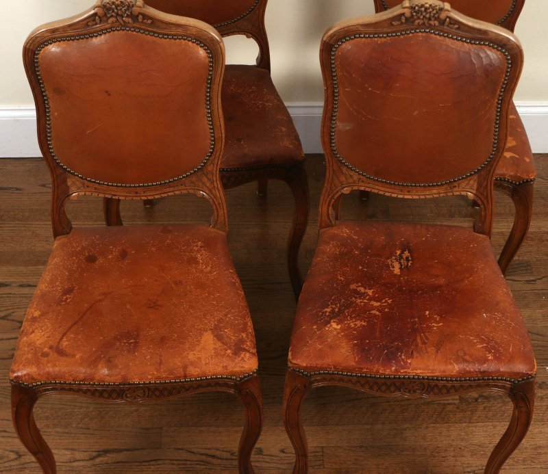(4pc) FRENCH PROVINCIAL WALNUT SIDE CHAIRS - 2