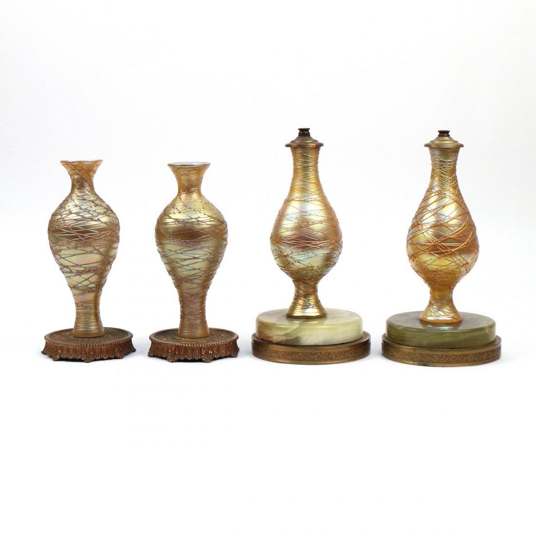 (4pc) IRIDESCENT ART GLASS LIGHT FIXTURES