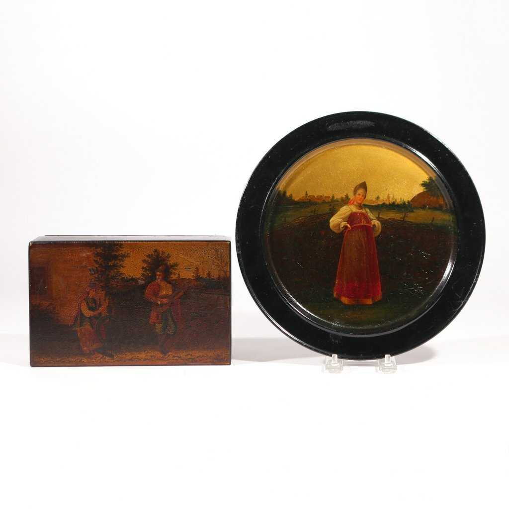 (2pc) RUSSIAN LACQUER PLAQUE AND BOX