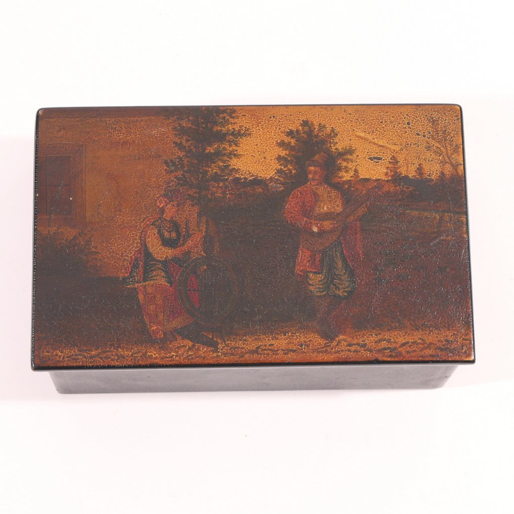 (2pc) RUSSIAN LACQUER PLAQUE AND BOX - 2