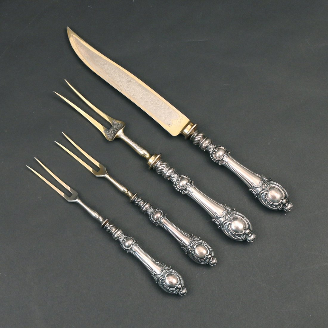 (2pc) BOXED '800' SILVER CARVING SET - 2