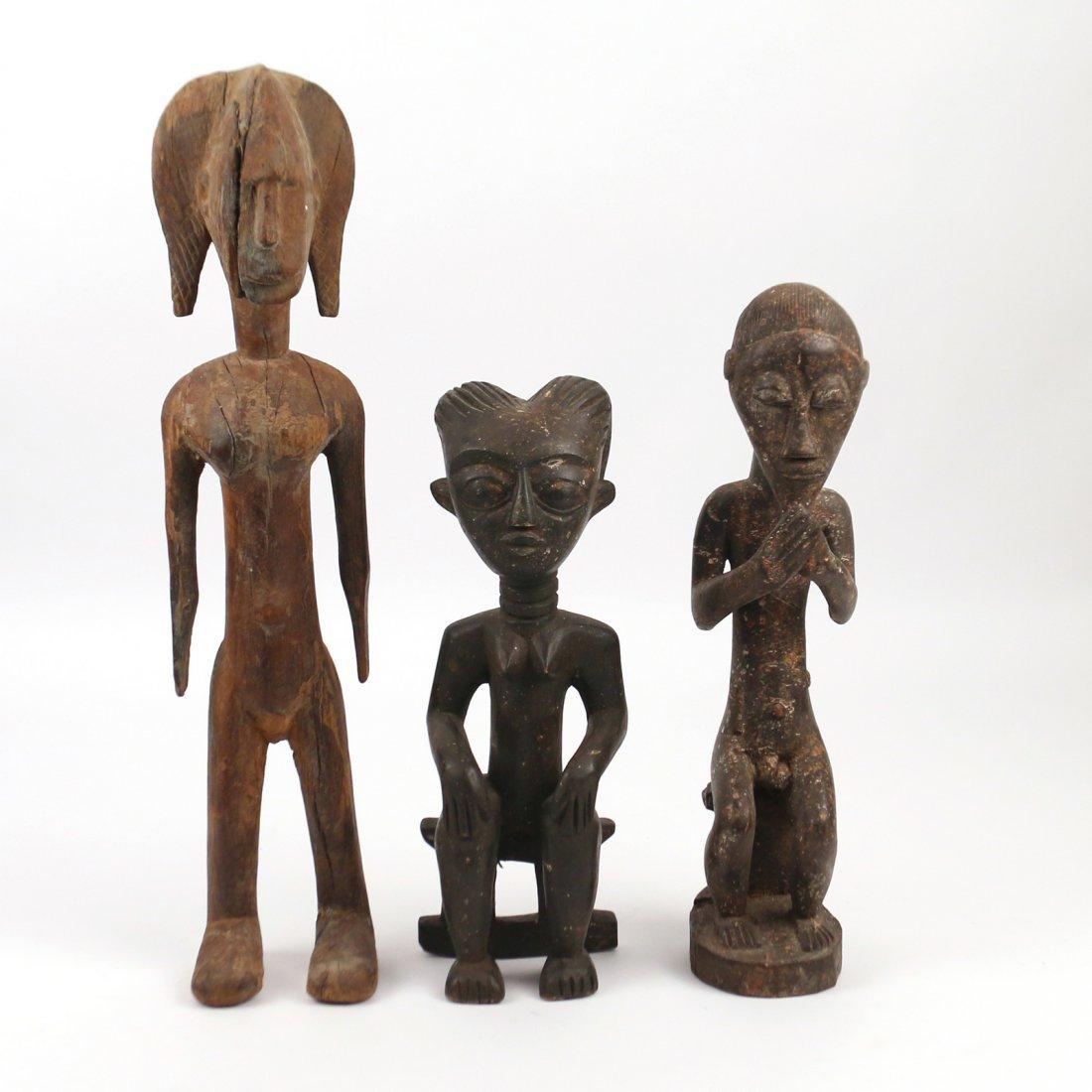 (3pc) AFRICAN ANTIQUE WOODEN SCULPTURE
