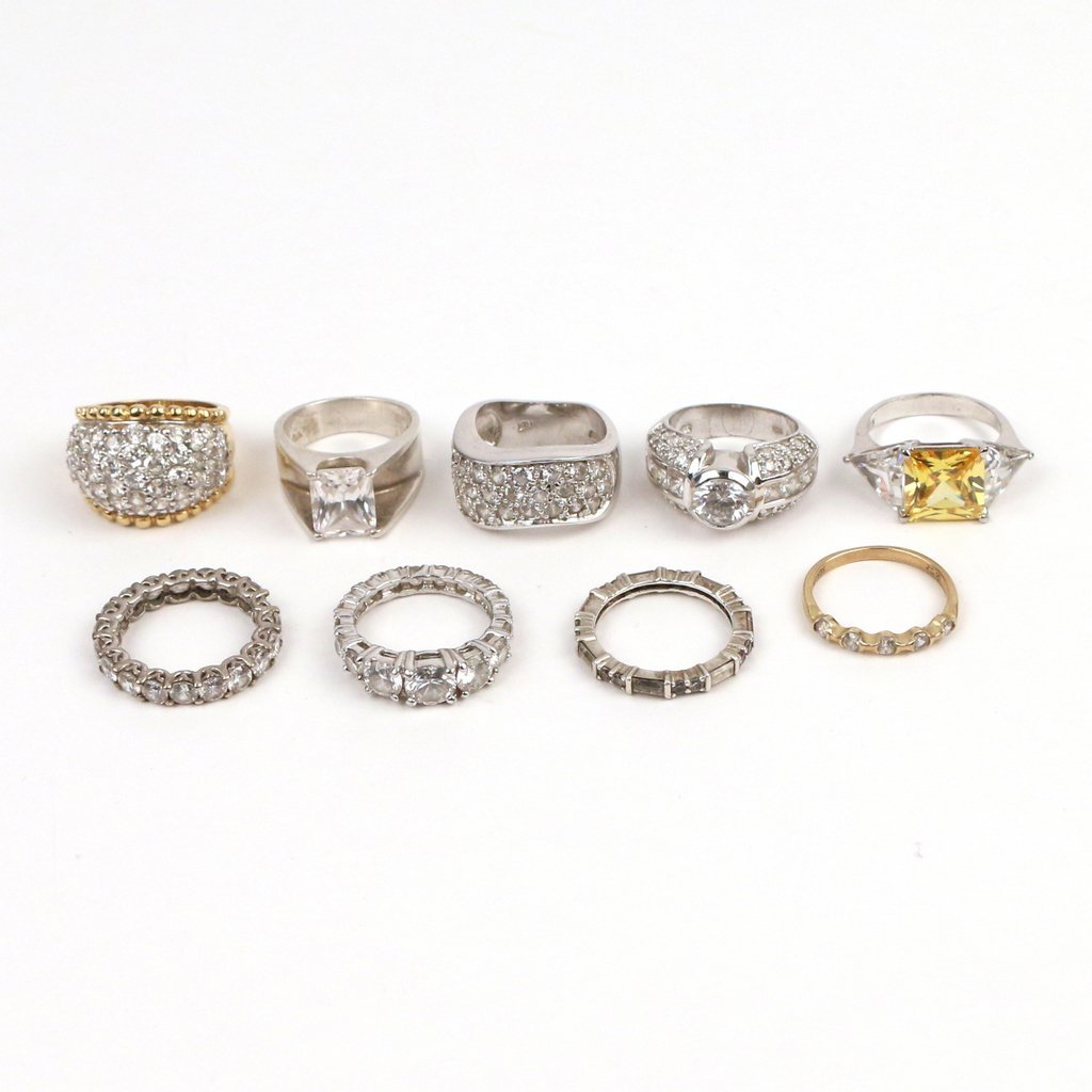 (9pc) SILVER AND DIAMOND SIMULANT RINGS - 2