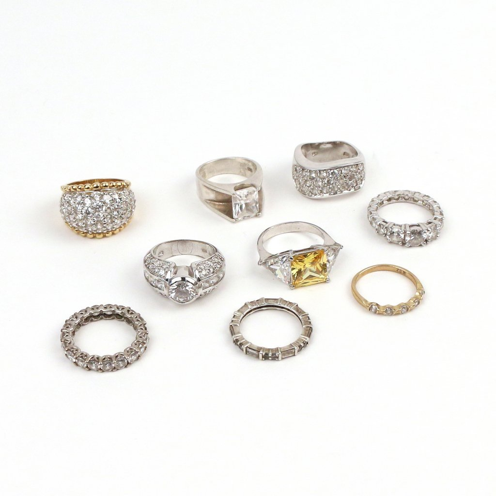 (9pc) SILVER AND DIAMOND SIMULANT RINGS - 3