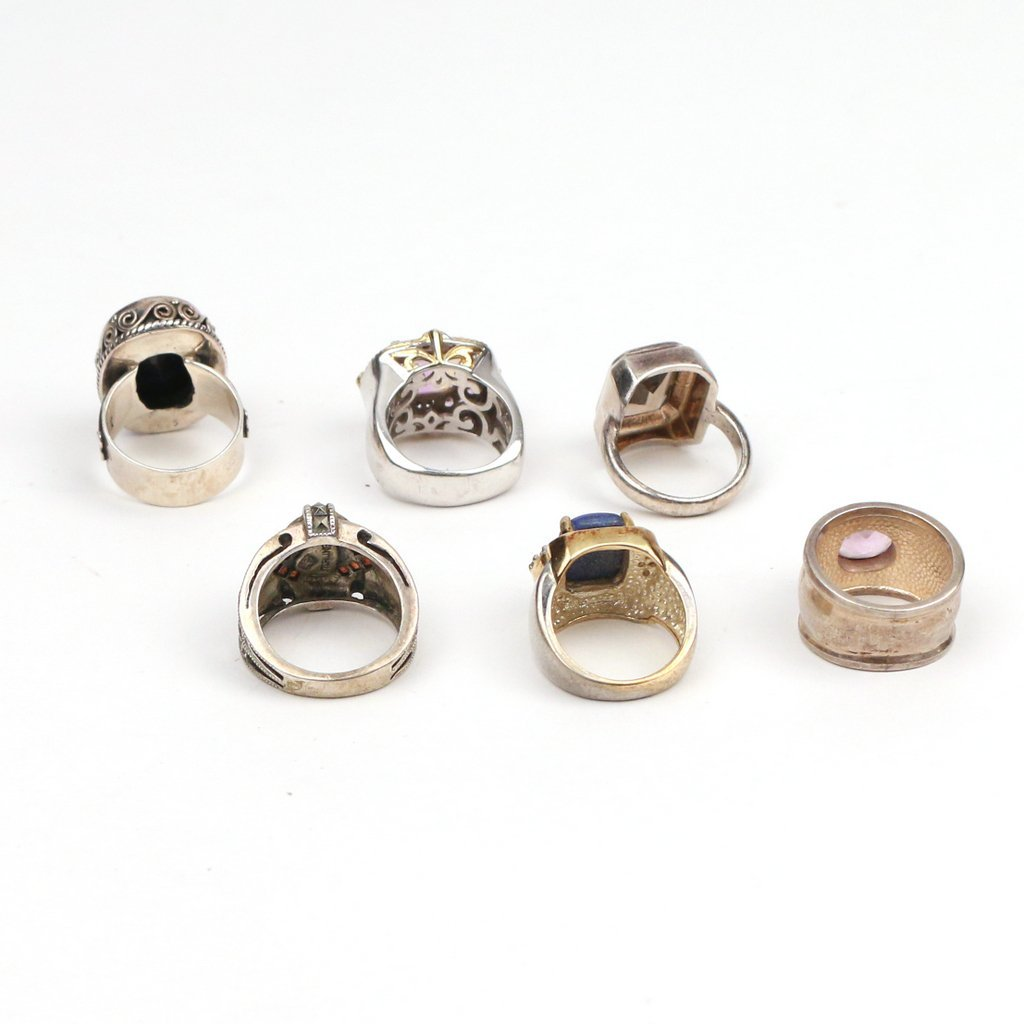 (6pc) STERLING AND SEMI-PRECIOUS GEMSTONE RINGS - 2
