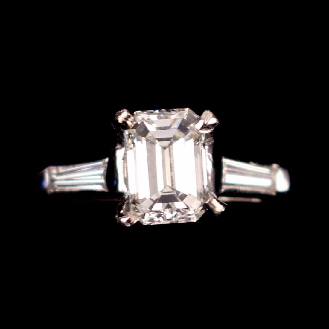 0.83ct EMERALD CUT DIAMOND ENGAGEMENT RING