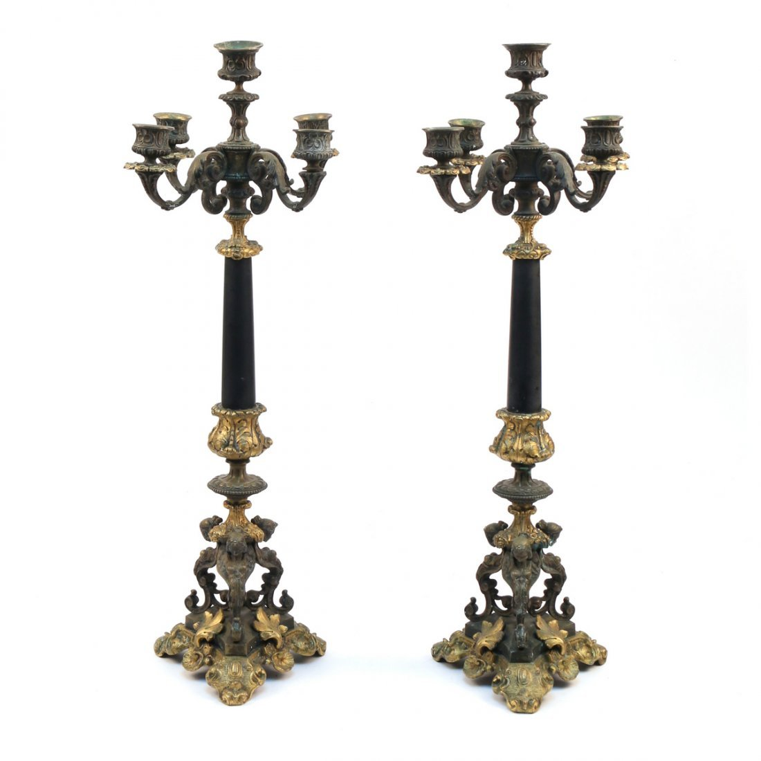PAIR FRENCH BRONZE & MARBLE CANDELABRA