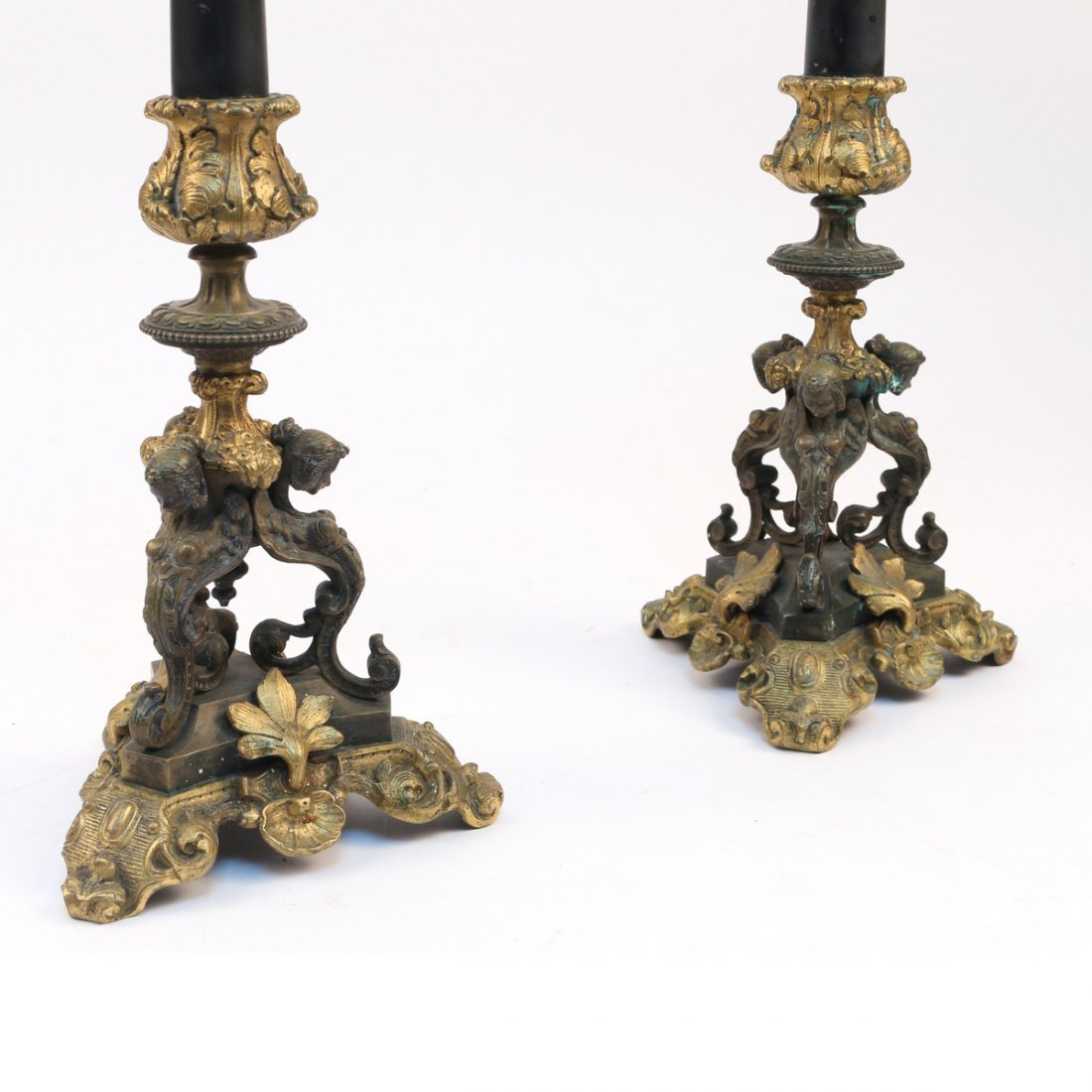 PAIR FRENCH BRONZE & MARBLE CANDELABRA - 3