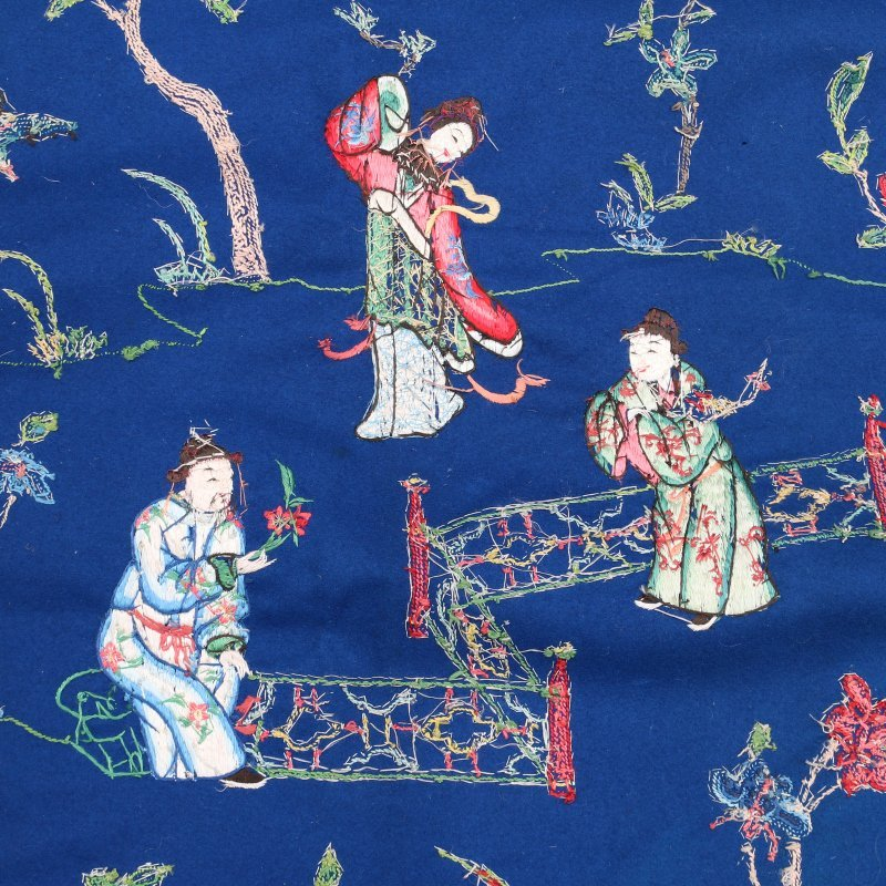 LARGE CHINESE CREWEL-WORK EMBROIDERY - 8