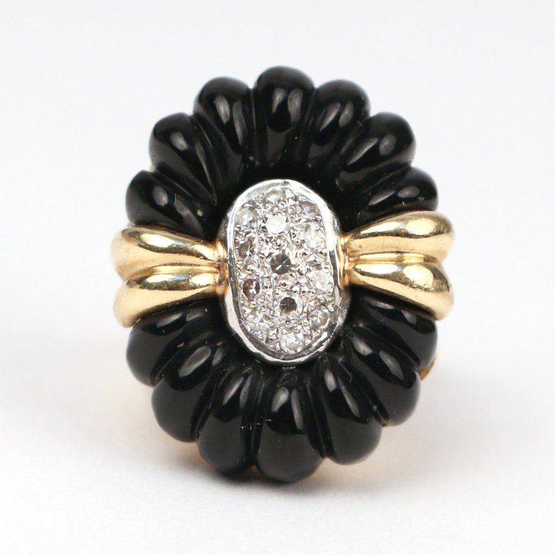 DIAMOND, GOLD, & ONYX RING