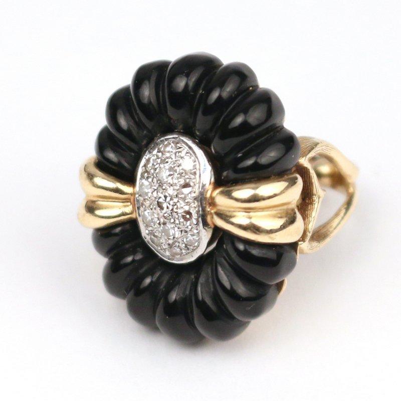 DIAMOND, GOLD, & ONYX RING - 2