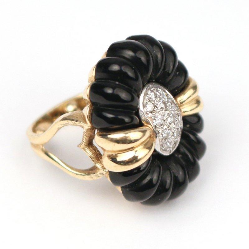 DIAMOND, GOLD, & ONYX RING - 3
