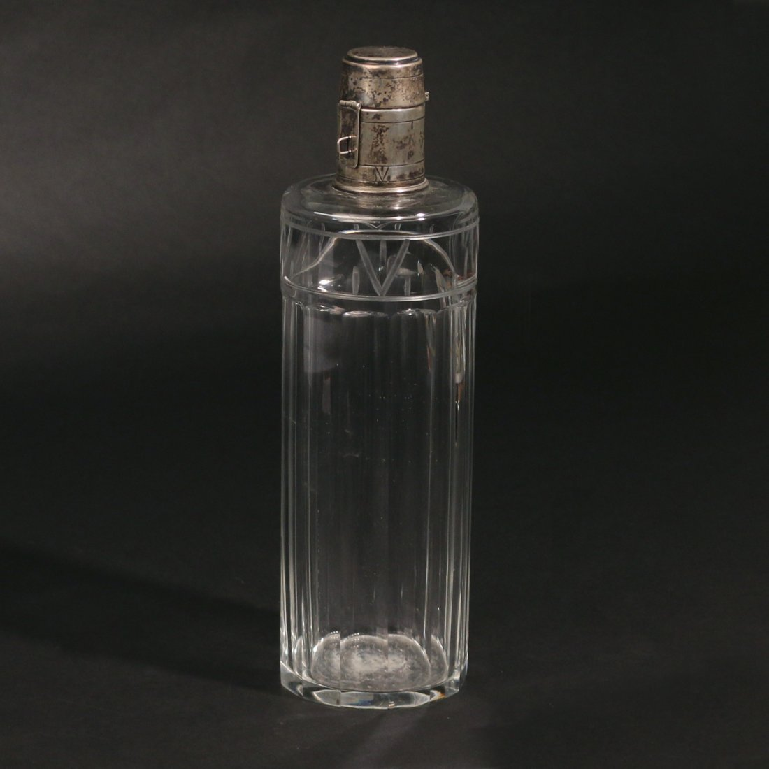 HAWKES CRYSTAL & STERLING WHISKEY BOTTLE