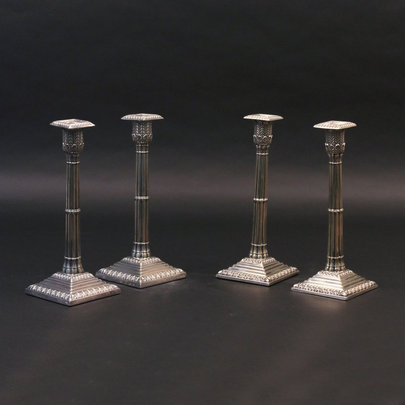 (4pc) SIMILAR SILVER-PLATED CANDLESTICKS
