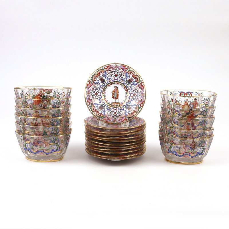 (23pc) ENAMEL DECORATED GLASS