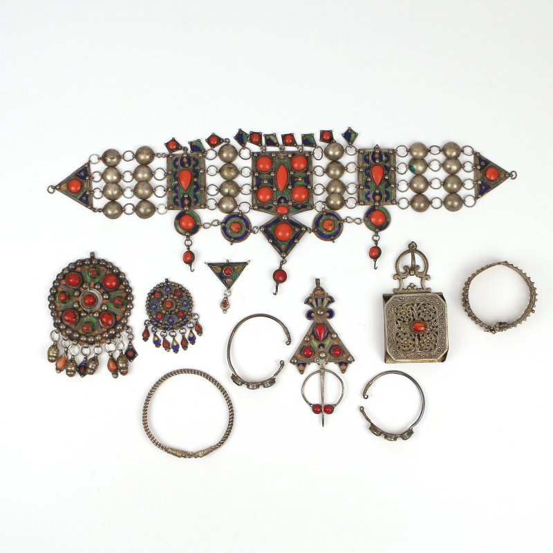 (10pc) STERLING MIDDLE EASTERN JEWELRY