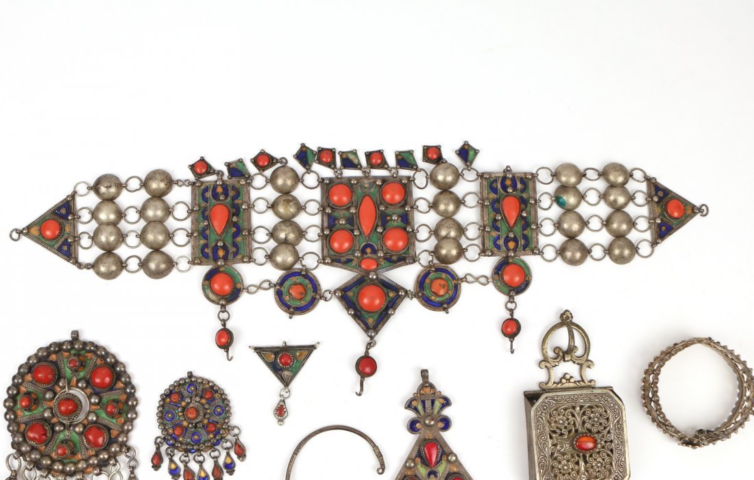 (10pc) STERLING MIDDLE EASTERN JEWELRY - 4