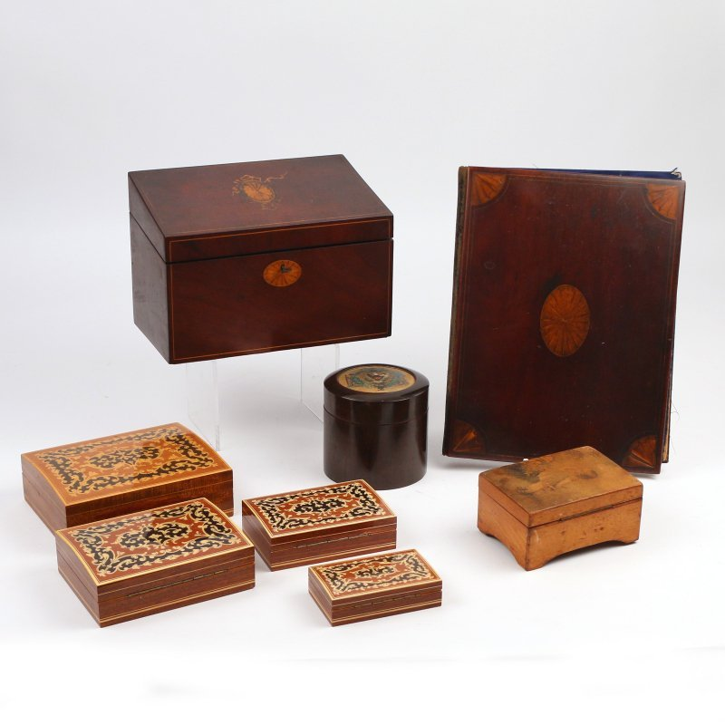 (8pc) VARIOUS INLAID WOODEN BOXES