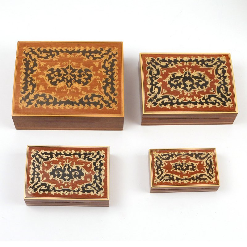 (8pc) VARIOUS INLAID WOODEN BOXES - 2